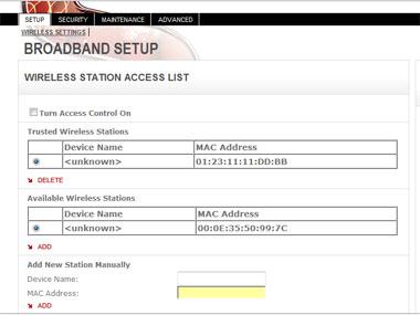 Sagem Wireless Access Screen