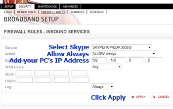 Add Skype Rule
